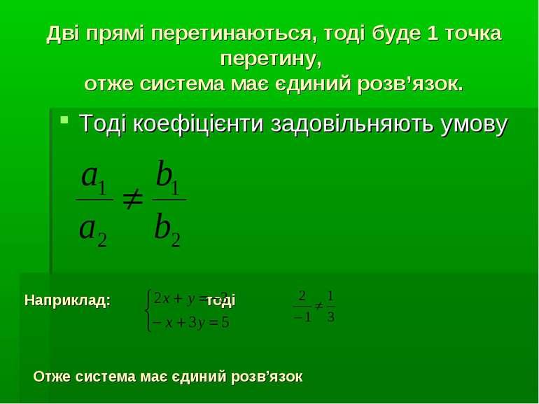 Дві прямі перетинаються, тоді буде 1 точка перетину, отже система має єдиний ...