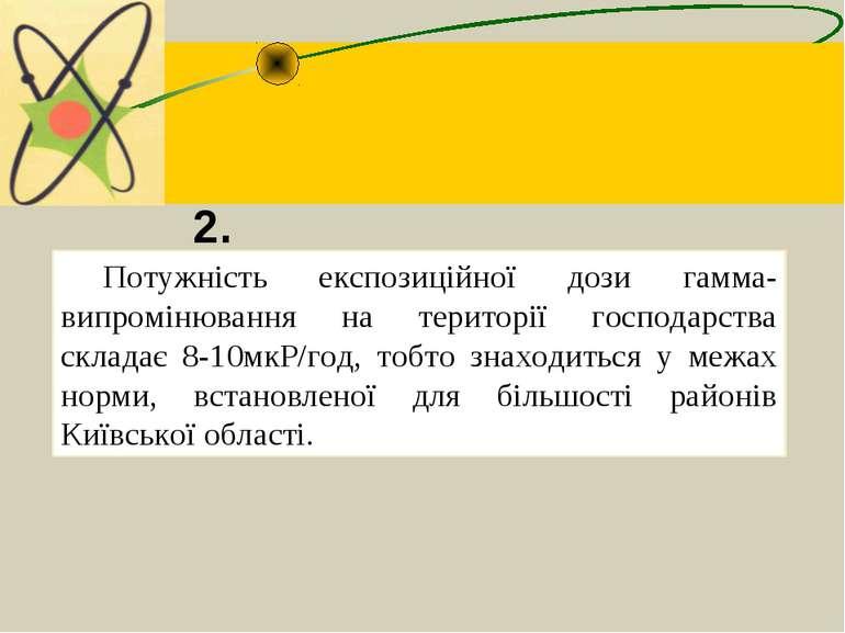 Потужність експозиційної дози гамма-випромінювання на території господарства ...