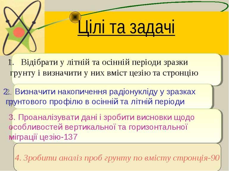 Цілі та задачі Відібрати у літній та осінній періоди зразки грунту і визначит...