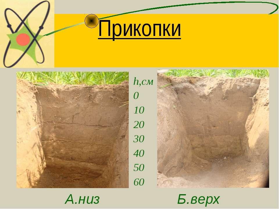 Прикопки А.низ Б.верх h,cм 0 10 20 30 40 50 60