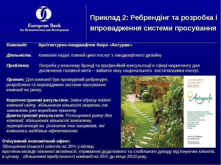 Приклад 2: Ребрендінг та розробка і впровадження системи просування Компанія:...