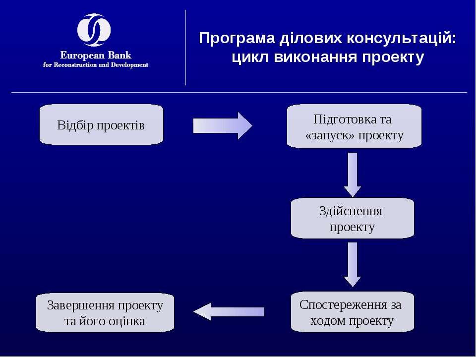Програма ділових консультацій: цикл виконання проекту Відбір проектів Підгото...