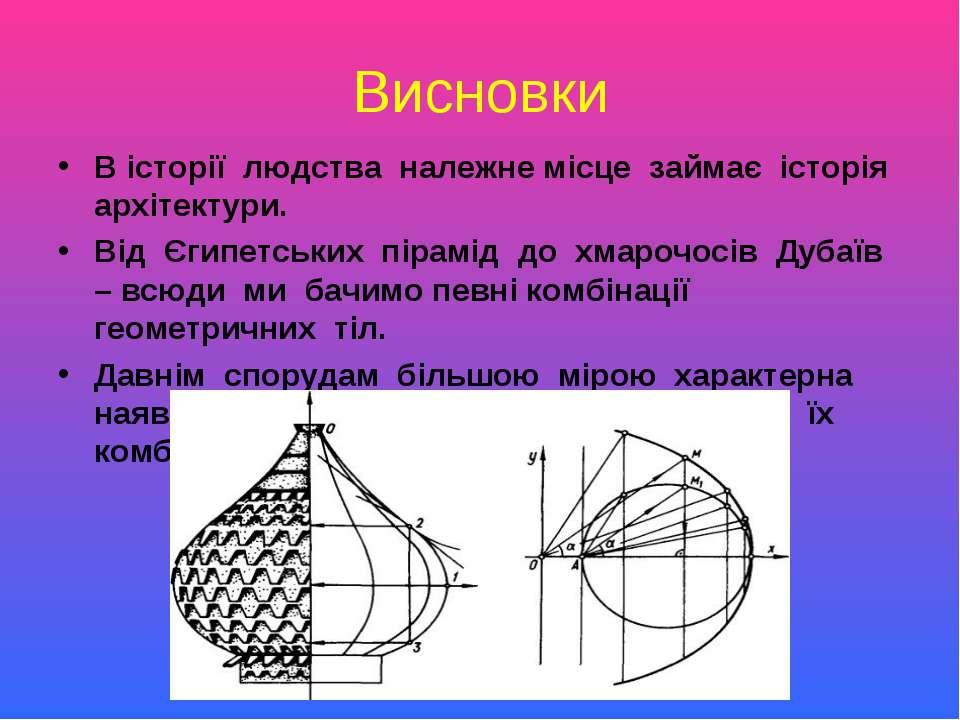 Висновки В історії людства належне місце займає історія архітектури. Від Єгип...