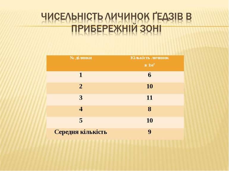 № ділянки Кількість личинок в 1м2 1 6 2 10 3 11 4 8 5 10 Середня кількість 9