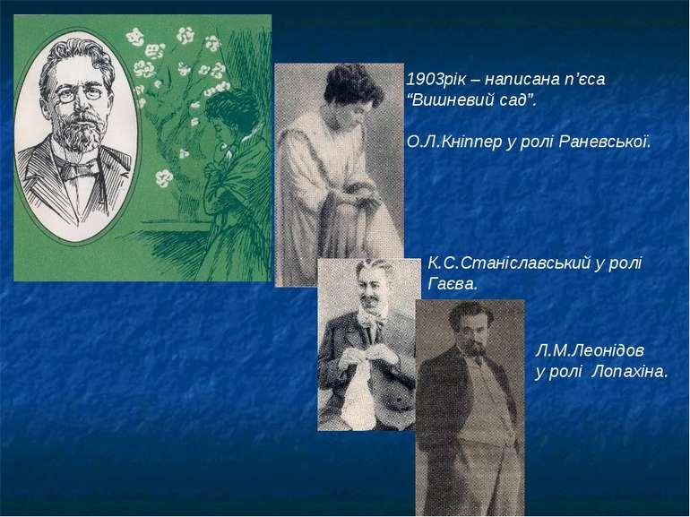 """1903рік – написана п'єса """"Вишневий сад"""". О.Л.Кніппер у ролі Раневської. К.С.С..."""