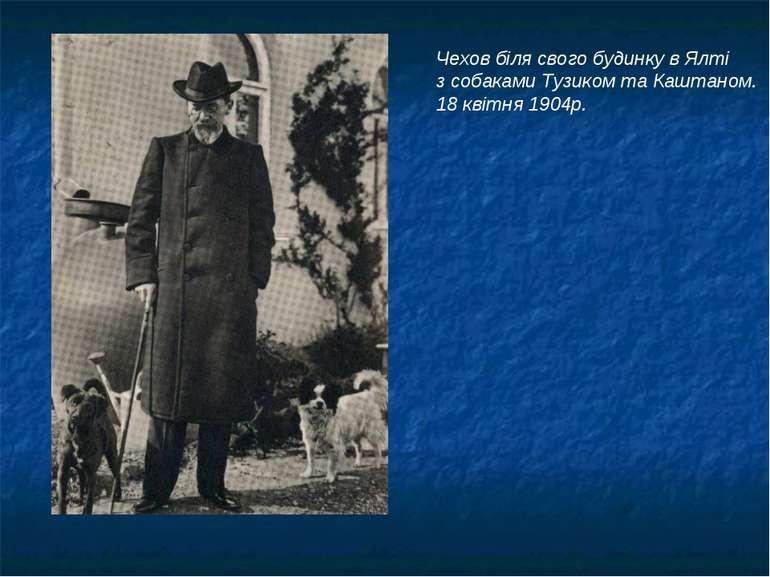 Чехов біля свого будинку в Ялті з собаками Тузиком та Каштаном. 18 квітня 1904р.