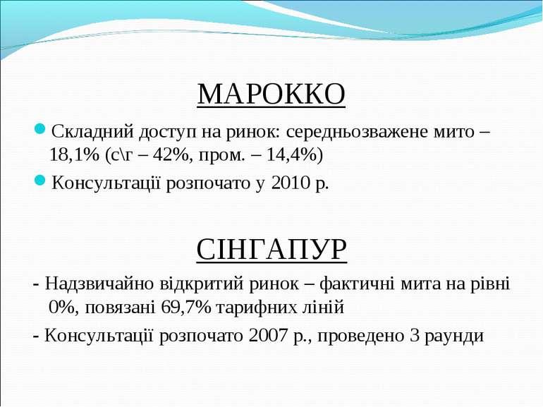МАРОККО Складний доступ на ринок: середньозважене мито – 18,1% (с\г – 42%, пр...