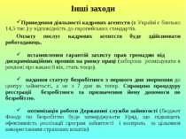 Інші заходи Приведення діяльності кадрових агентств (в Україні є близько 14,5...
