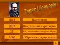 Народився 1814 Викуплений з кріпацтва 1837 Вік, коли вийшла перша збірка 26 О...