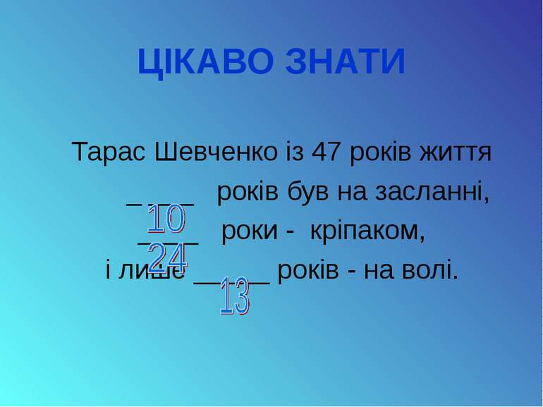 ЦІКАВО ЗНАТИ Тарас Шевченко із 47 років життя _ ___ років був на засланні, __...