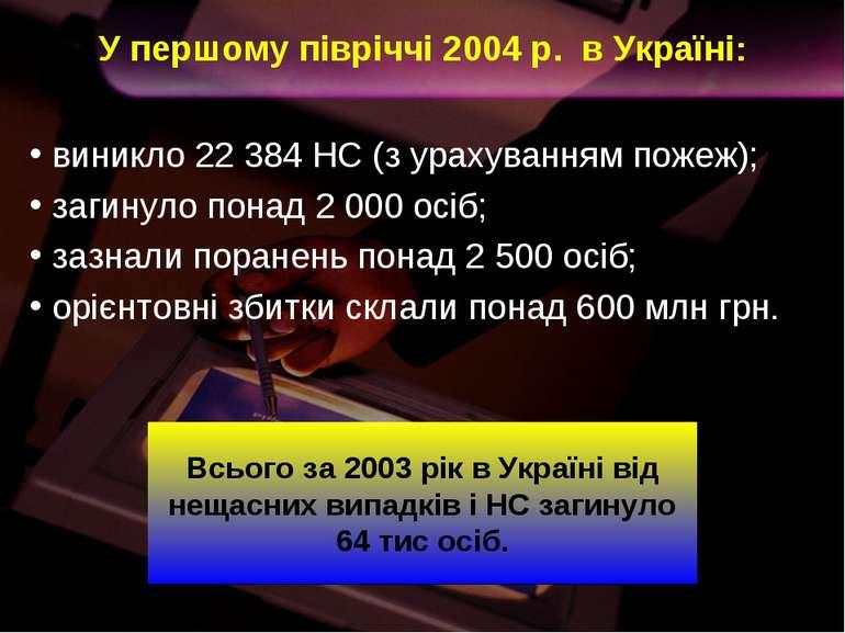 У першому півріччі 2004 р. в Україні: виникло 22 384 НС (з урахуванням пожеж)...