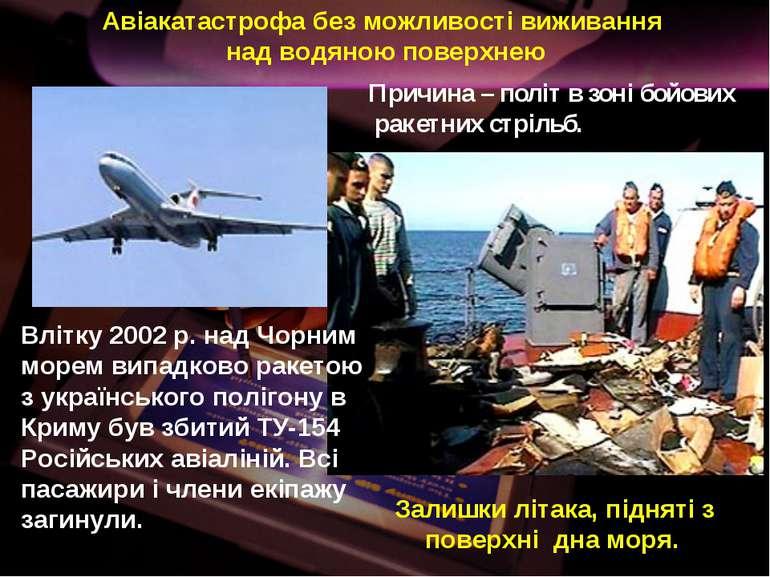 Авіакатастрофа без можливості виживання над водяною поверхнею Залишки літака,...