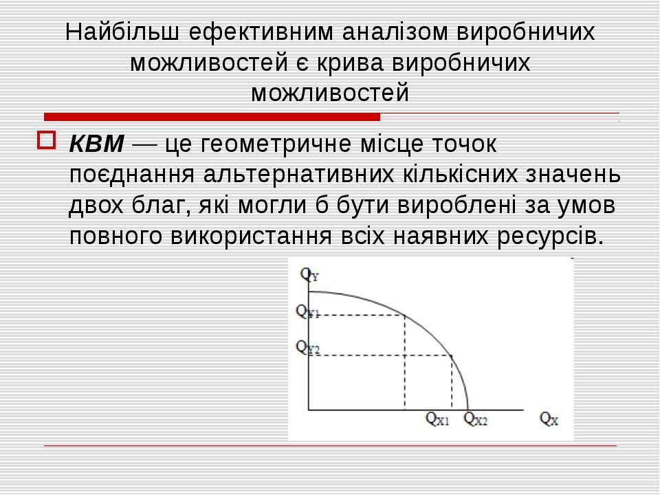 Найбільш ефективним аналізом виробничих можливостей є крива виробничих можлив...