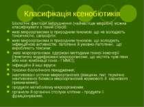 Класифікація ксенобіотиків Біологічні фактори забруднення (найчастіше мікробн...