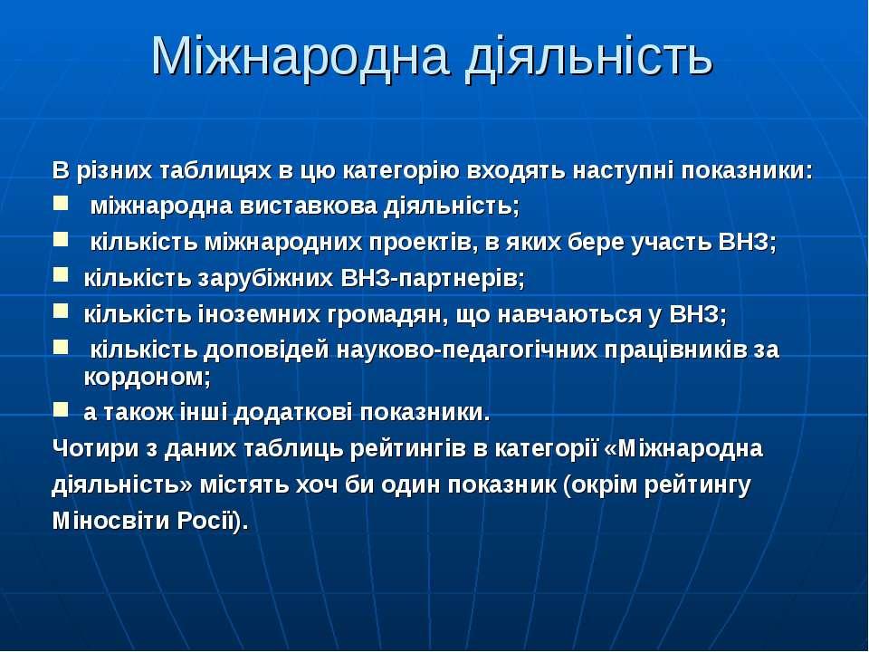 Міжнародна діяльність В різних таблицях в цю категорію входять наступні показ...