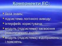 Компоненти ЕС: база знань; підсистема логічного виводу; інтерфейс користувача...