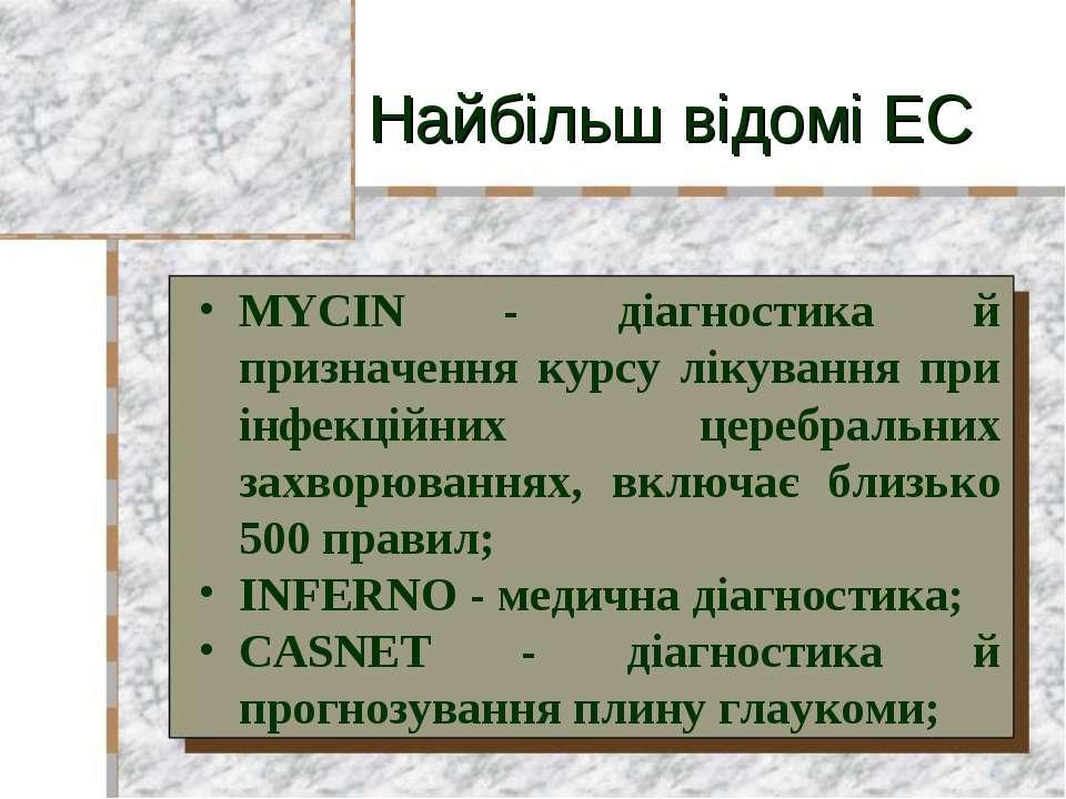 Найбільш відомі ЕС MYCIN - діагностика й призначення курсу лікування при інфе...