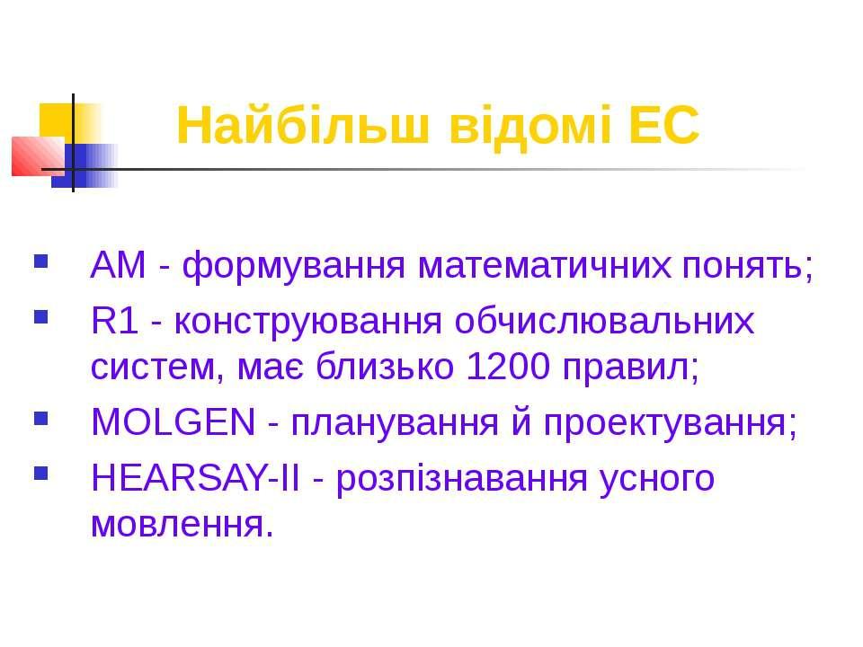 Найбільш відомі ЕС AM - формування математичних понять; R1 - конструювання об...