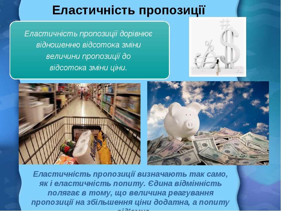 Еластичність пропозиції Еластичність пропозиції визначають так само, як і ела...