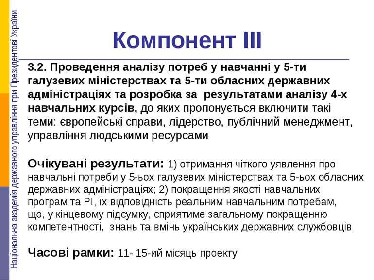 Компонент ІІІ 3.2. Проведення аналізу потреб у навчанні у 5-ти галузевих міні...