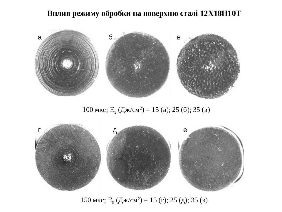 Вплив режиму обробки на поверхню сталі 12Х18Н10Т 150 мкс; ES (Дж/см2) = 15 (г...