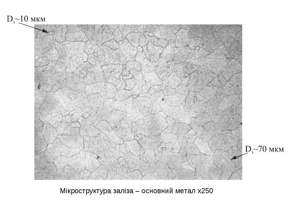Мікроструктура заліза – основний метал х250