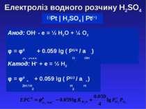 Електроліз водного розчину H2SO4 (-)Pt | H2SO4 | Pt(+) Aнод: OH- - e = ½ H2O ...