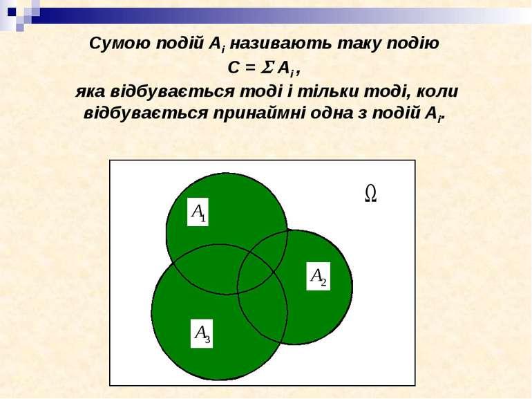 Сумою подій Аі називають таку подію C = Ai , яка відбувається тоді і тільки т...