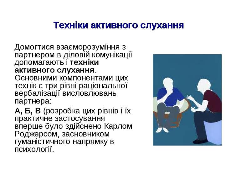 Техніки активного слухання Домогтися взаєморозуміння з партнером в діловій ко...