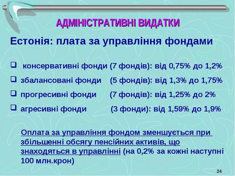Естонія: плата за управління фондами консервативні фонди (7 фондів): від 0,75...