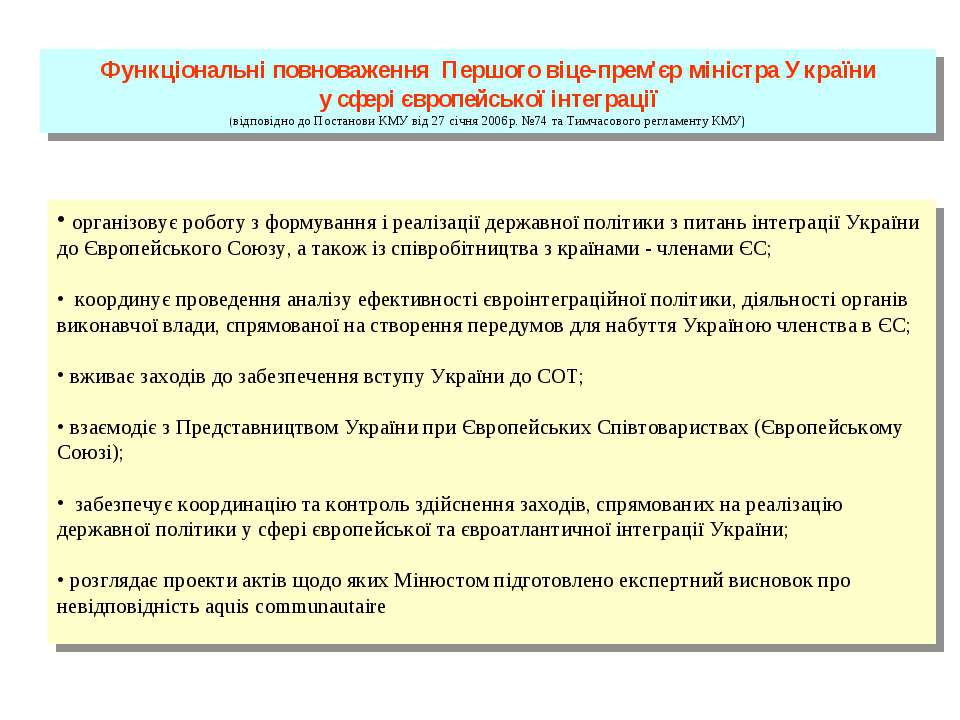 Функціональні повноваження Першого віце-прем'єр міністра України у сфері євро...