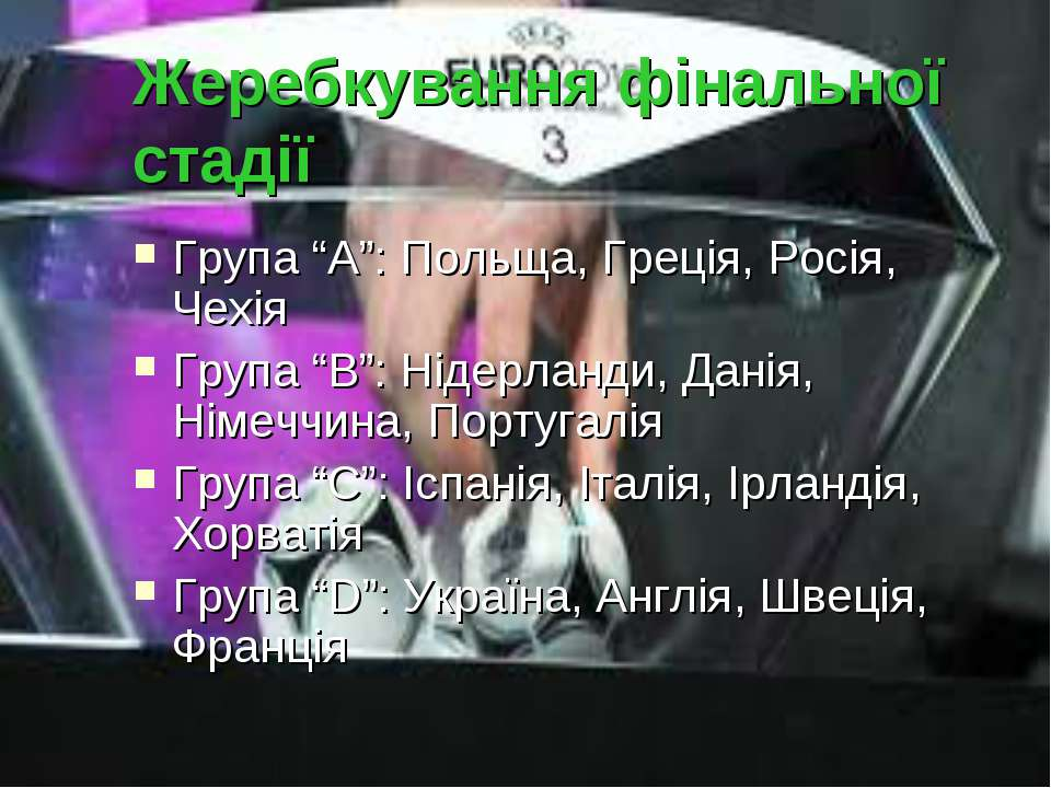 """Жеребкування фінальної стадії Група """"А"""": Польща, Греція, Росія, Чехія Група """"..."""