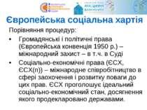 Європейська соціальна хартія Порівняння процедур: Громадянські і політичні пр...