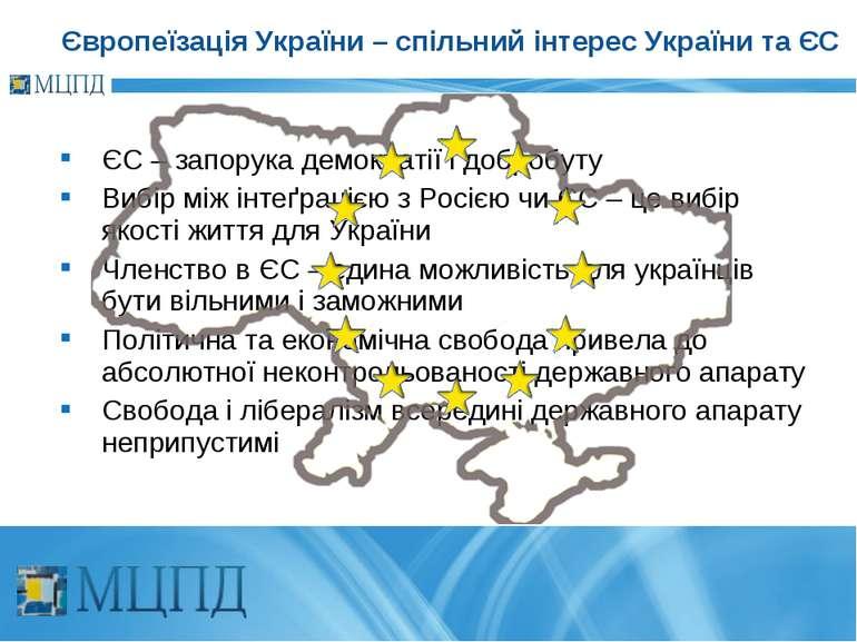ЄС – запорука демократії і добробуту Вибір між інтеґрацією з Росією чи ЄС – ц...