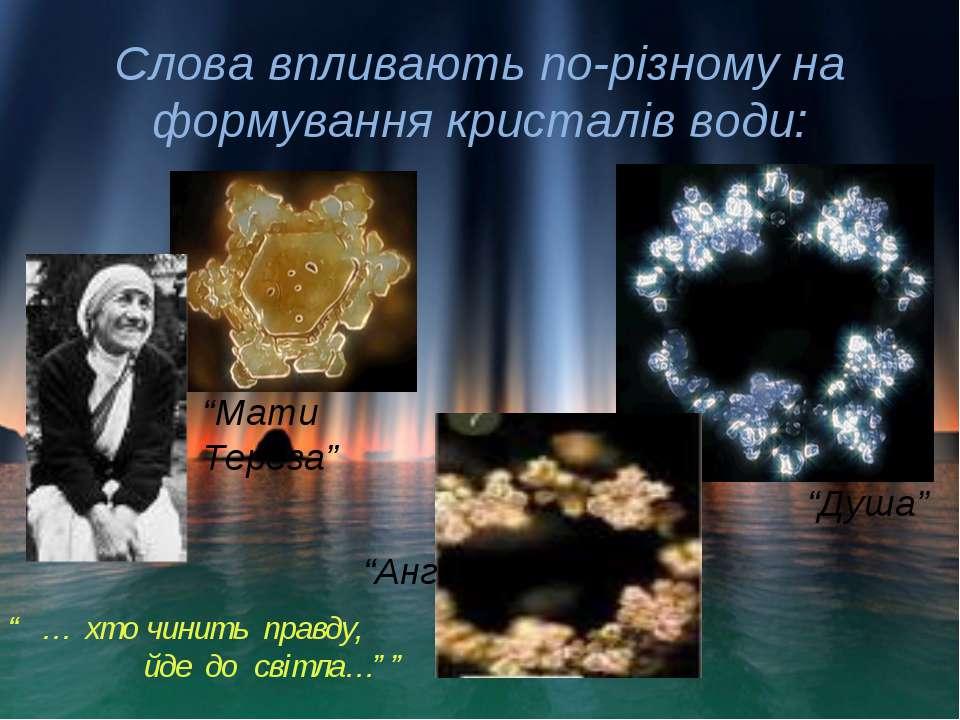 """Слова впливають по-різному на формування кристалів води: """"Мати Тереза"""" """"Ангел..."""