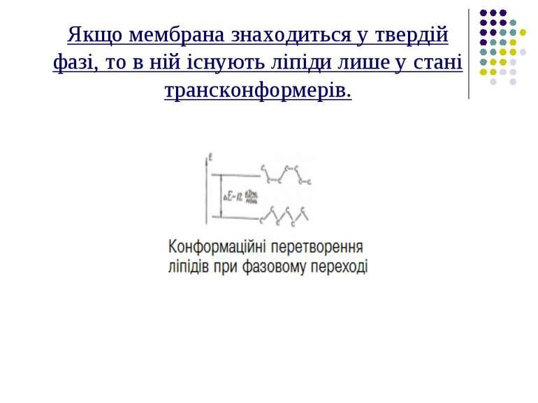 Якщо мембрана знаходиться у твердій фазі, то в ній існують ліпіди лише у стан...