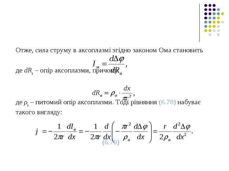 Отже, сила струму в аксоплазмі згідно законом Ома становить де dRa – опір акс...