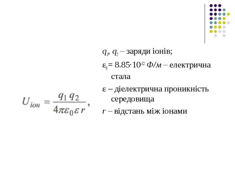 q1, q2 – заряди іонів; ε0 = 8.85·10-12 Ф/м – електрична стала ε – діелектричн...
