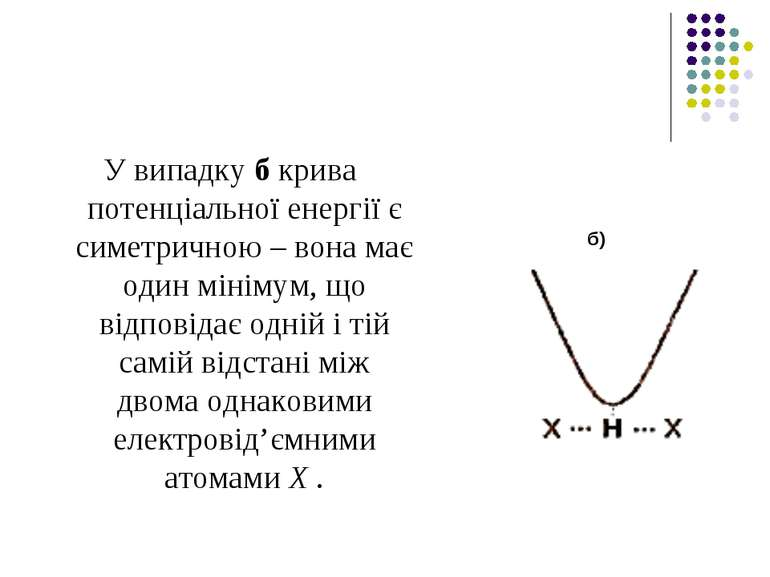 У випадку б крива потенціальної енергії є симетричною – вона має один мінімум...