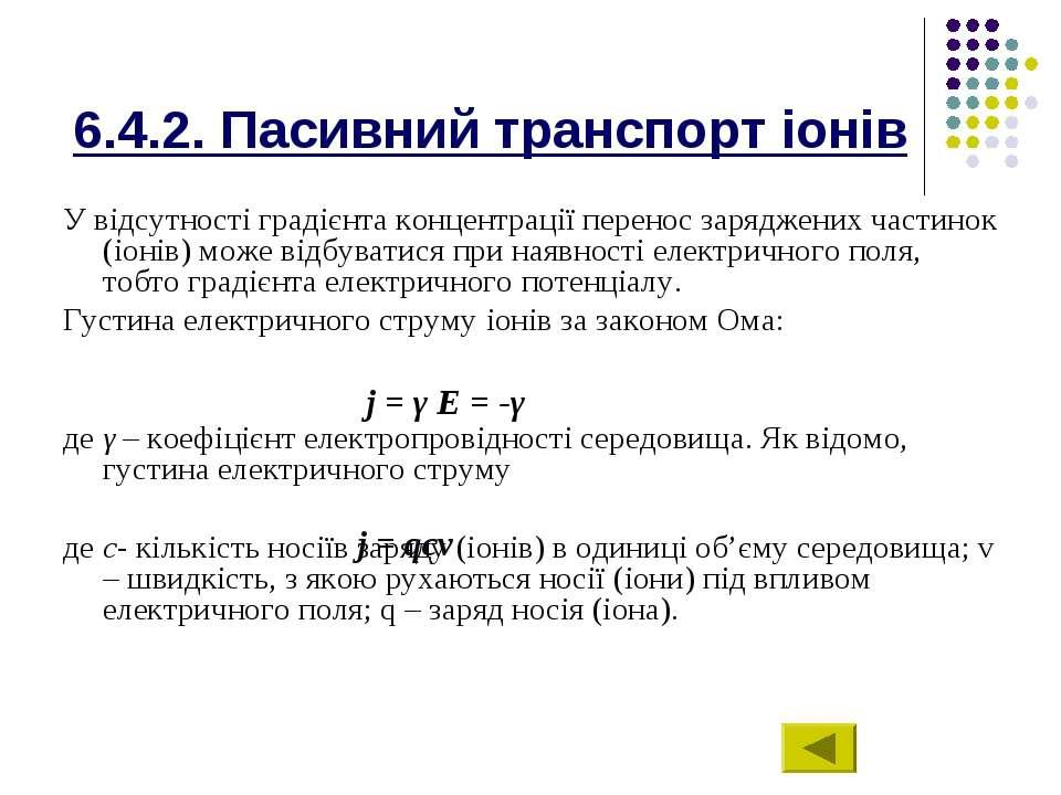 6.4.2. Пасивний транспорт іонів У відсутності градієнта концентрації перенос ...