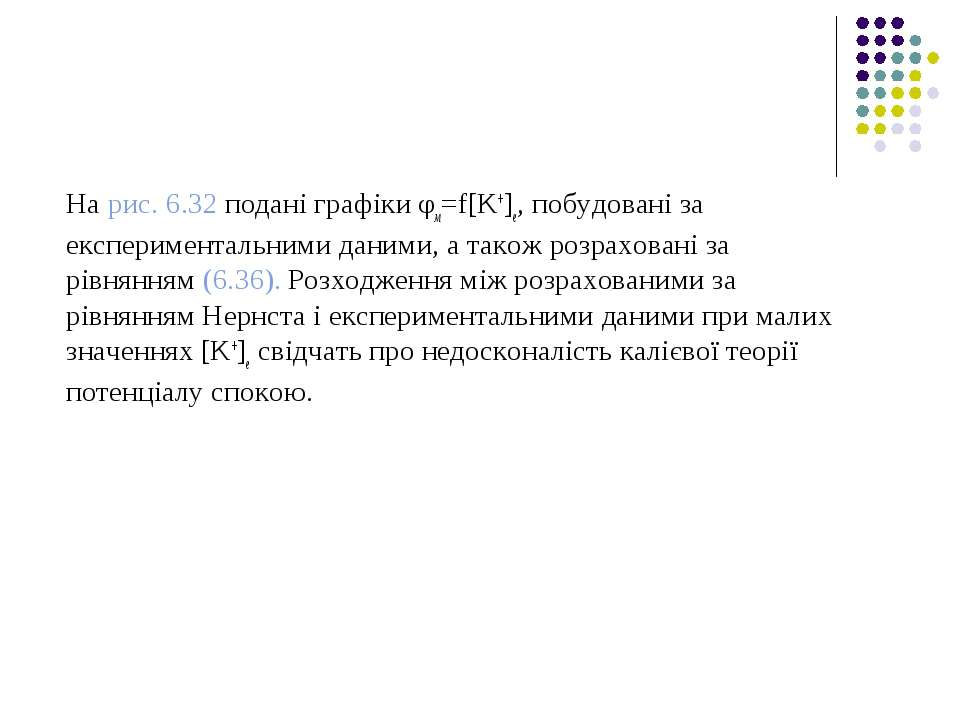 На рис. 6.32 подані графіки φм=f[K+]е, побудовані за експериментальними даним...