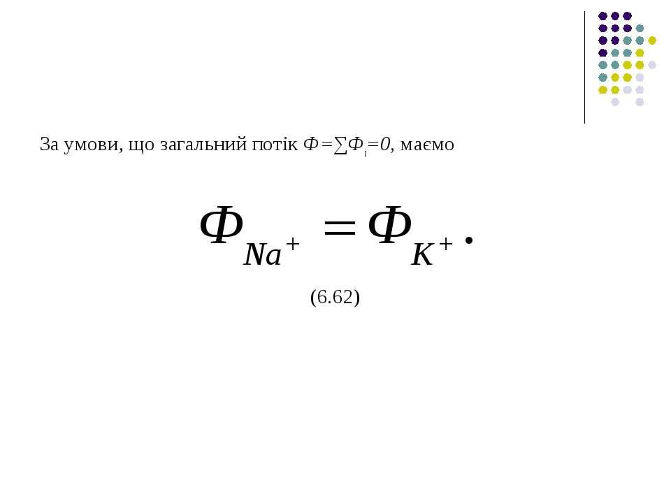 За умови, що загальний потік Ф=∑Фі=0, маємо (6.62)