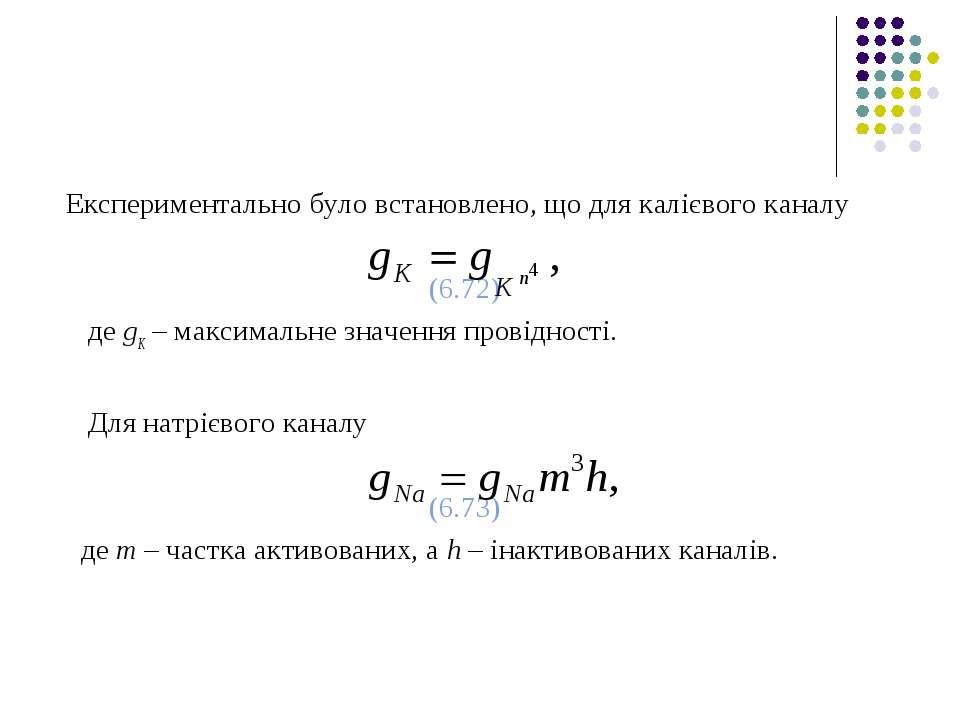 Експериментально було встановлено, що для калієвого каналу (6.72) де gК – мак...