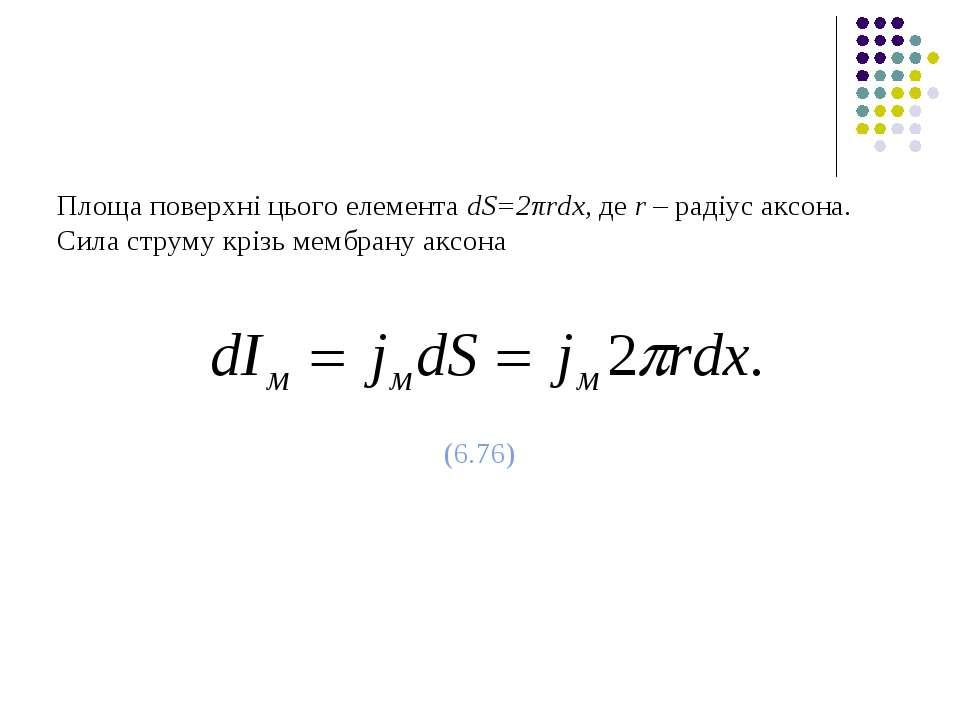 Площа поверхні цього елемента dS=2πrdx, де r – радіус аксона. Сила струму крі...