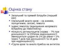 Оцінка стану Загальний та прямий білірубін (перший раз) •Загальний аналіз кро...