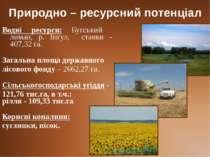 Природно – ресурсний потенціал Водні ресурси: Бугський лиман, р. Інгул, ставк...