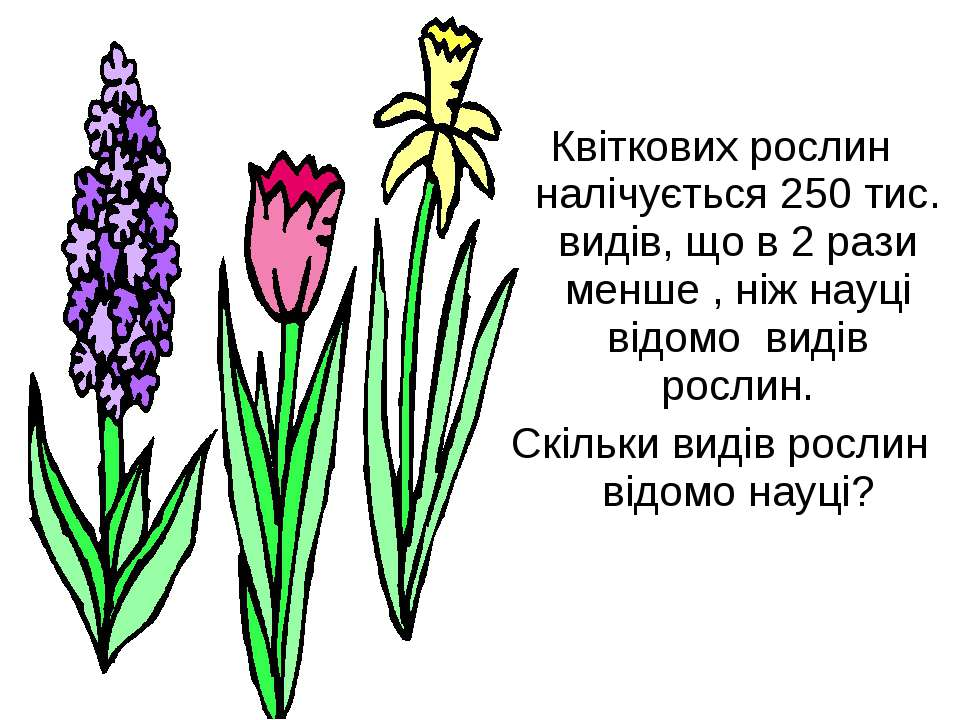 Квіткових рослин налічується 250 тис. видів, що в 2 рази менше , ніж науці ві...