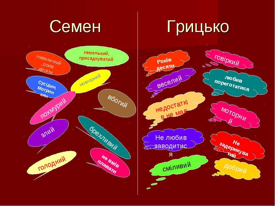 Семен Грицько Невеличкий, років десяти Низенький, присадкуватий Сусідин, Мотр...