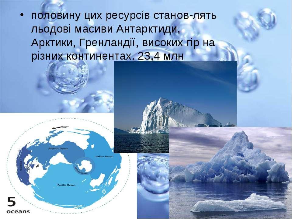 половину цих ресурсів станов лять льодові масиви Антарктиди, Арктики, Гренлан...