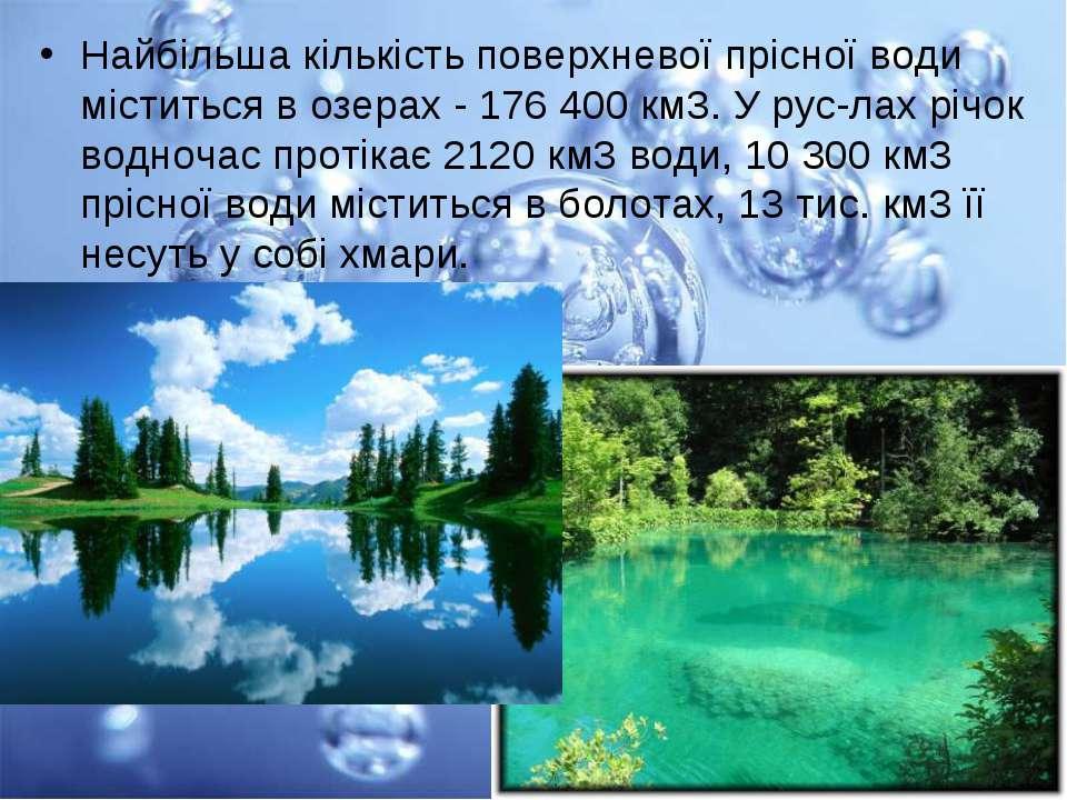 Найбільша кількість поверхневої прісної води міститься в озерах - 176 400 км3...